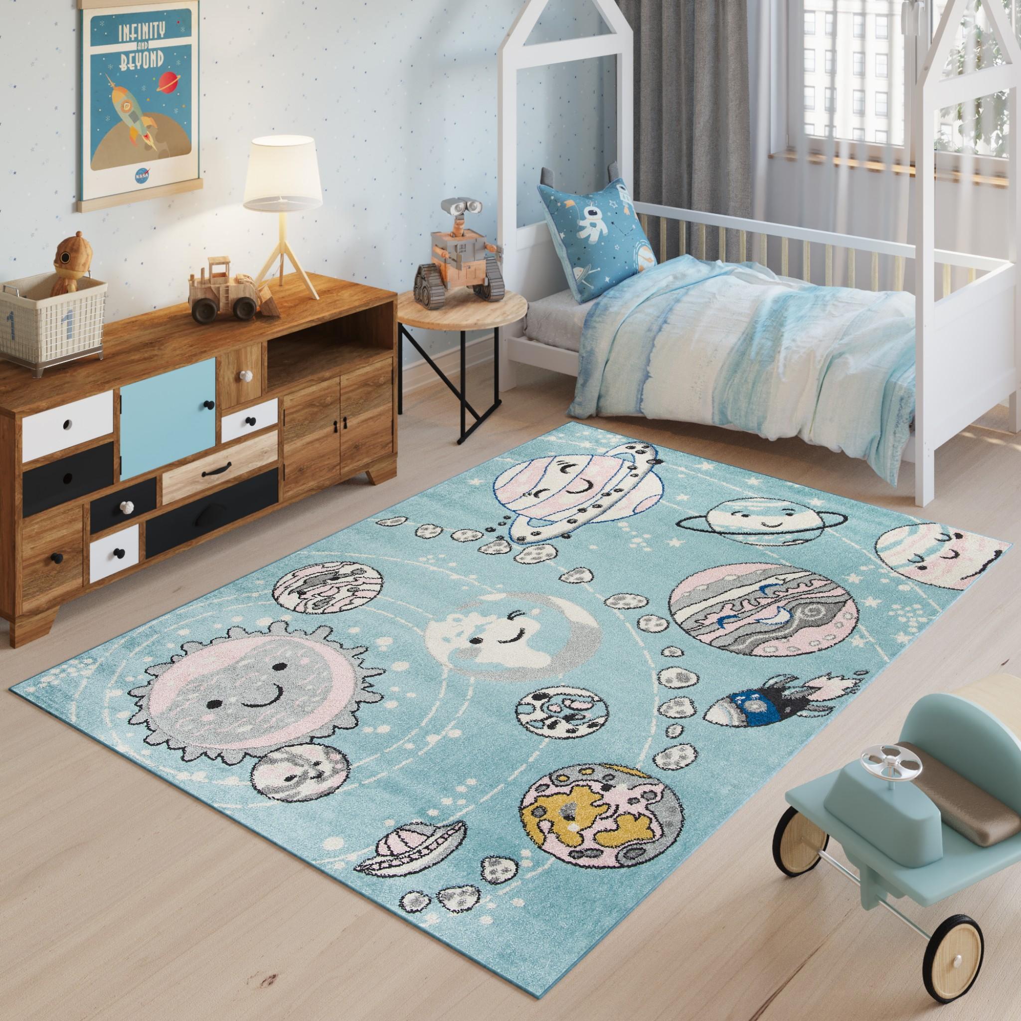Dywan dziecięcy HAPPY H325A RAKIETY PLANETY KOSMOS niebieski
