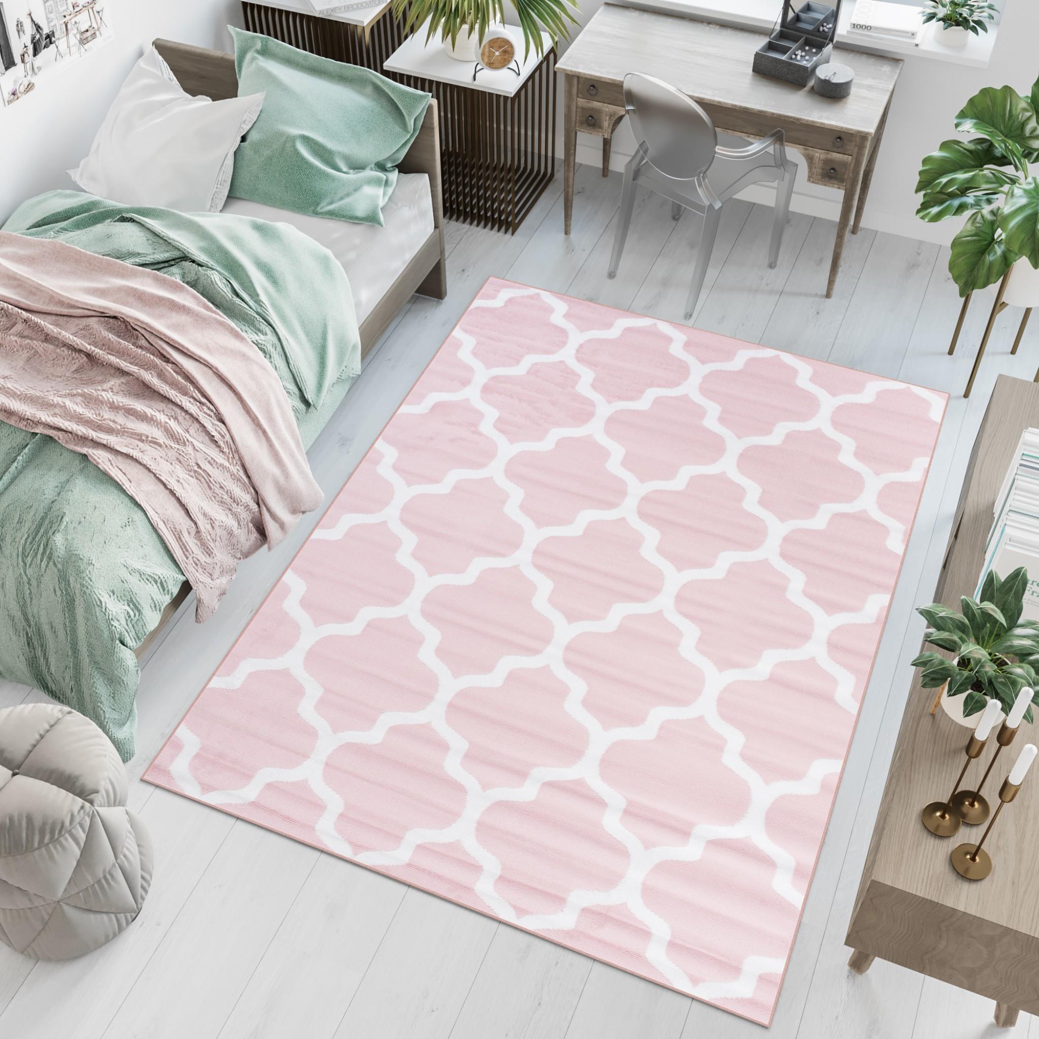 Dywan młodzieżowy PINKY Wzory różowy