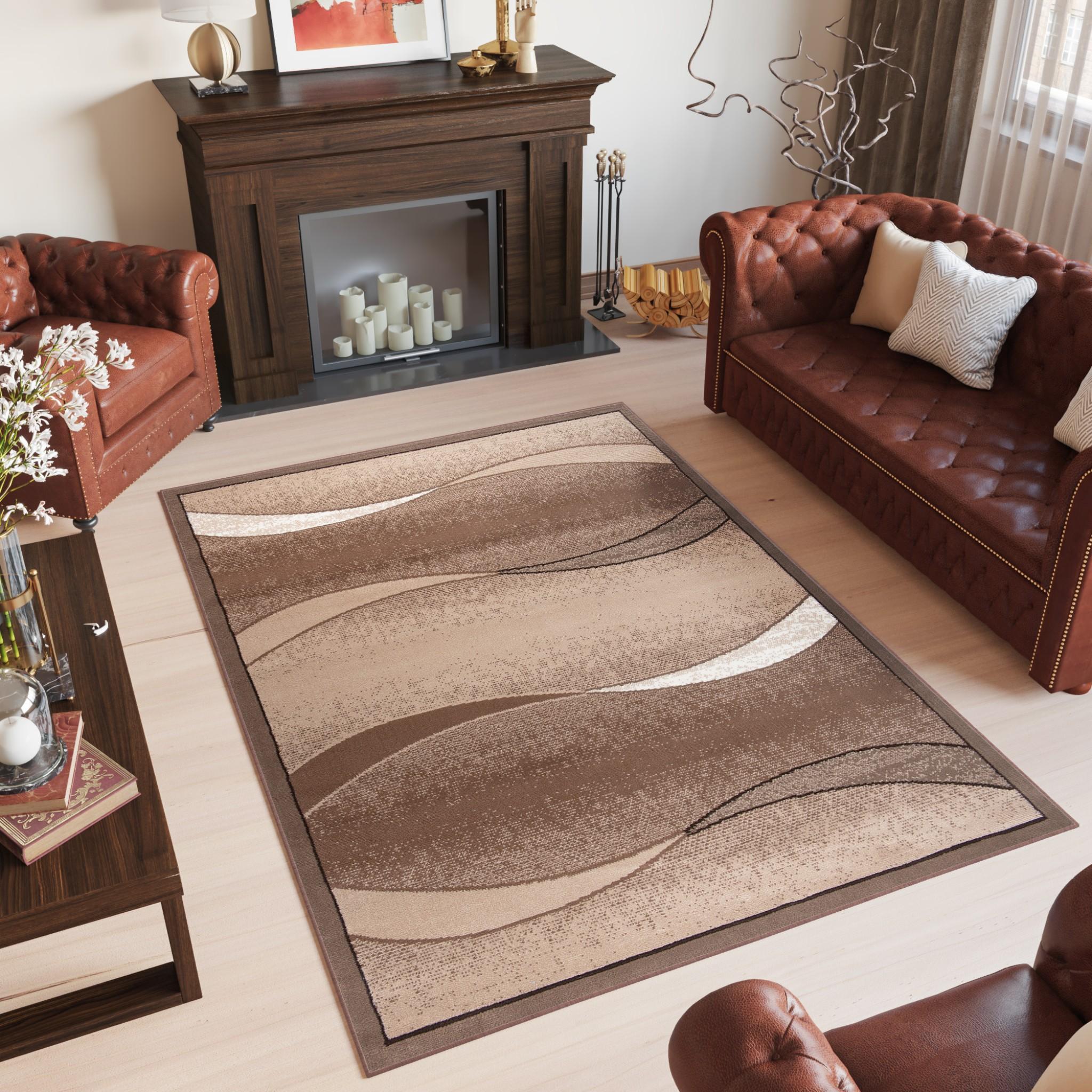 Dywan nowoczesny SCARLET 70878/10844 FALE DO SALONU DO PRZEDPOKOJU jasno-brązowy
