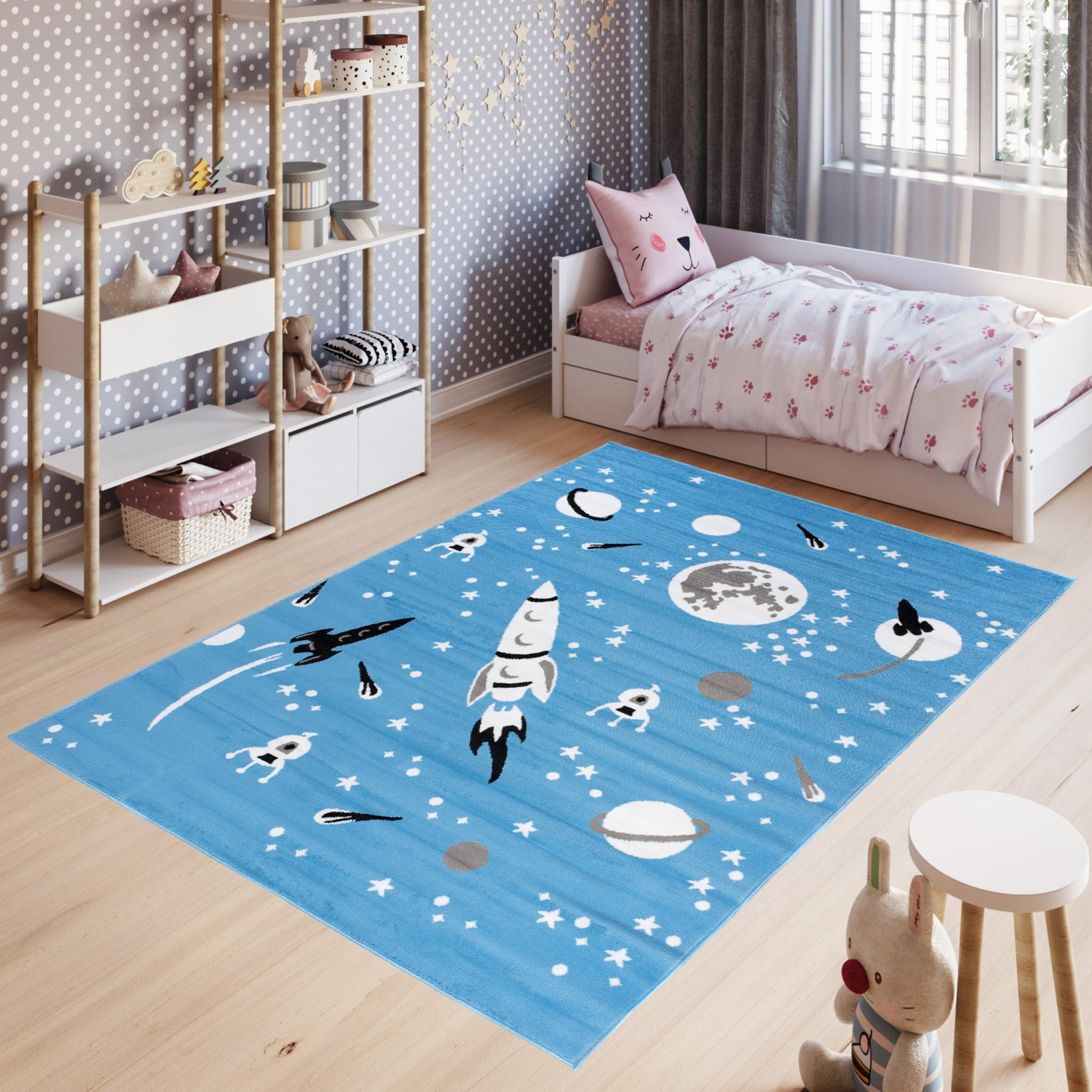 Dywan dziecięcy PINKY KOSMOS niebieski