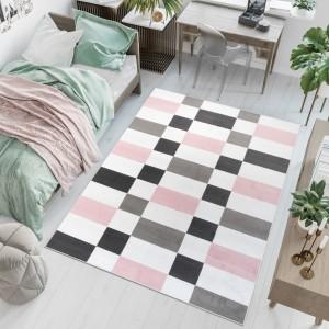 Dywan młodzieżowy PINKY Kwadraty Wzory biały