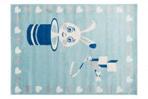 Dywan dziecięcy HAPPY E662A ZAJĄCZEK MAGIK SERDUSZKA niebieski