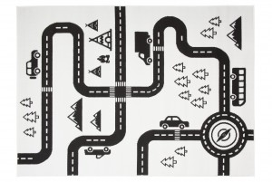 Dywan dziecięcy PINKY Autostrada biały
